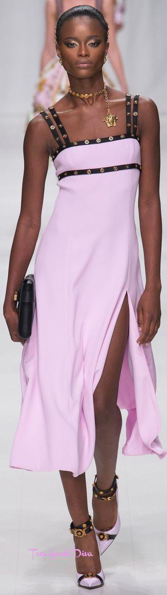 Versace Spring 2018 RTW #MFW #ss18 pink dress