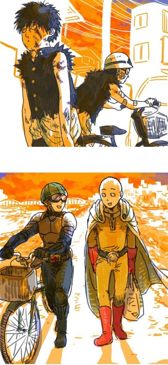 One Punch Man - Saitama and Mumen Rider