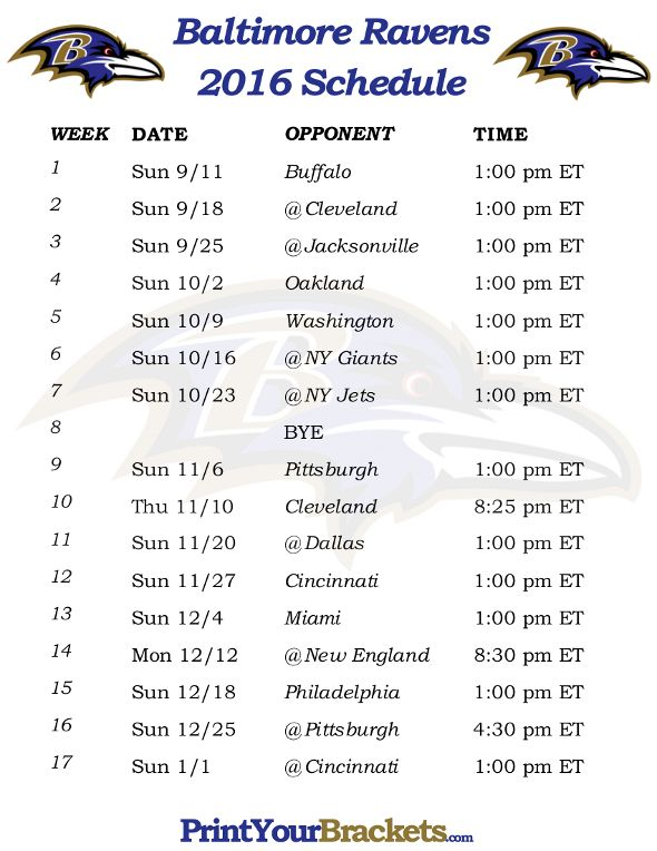 Printable Baltimore Ravens Schedule - 2016 Football Season