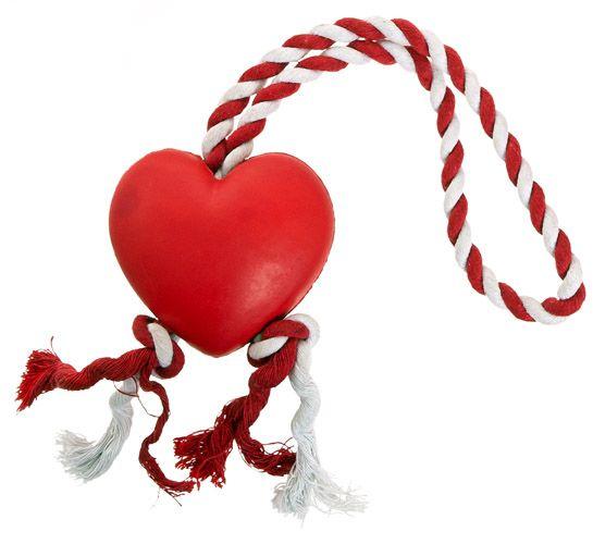· das Hundespielzeug Herz mit Tau ist ideal für spielfreudige Hunde mittlerer Größe, die gerne und oft etwas kaputt beißen wollen! · dieses KONG Spielzeug für Hunde besteht aus sehr strapazierfähigem Vollgummi · das robuste Hundespielzeug ist zum verlieben Spielsache für Hunde ideal für Wurf- und Zerrspiele · die Hundespielsache ist 'ne nette Geschenkidee, z.B. zum Valentinstag
