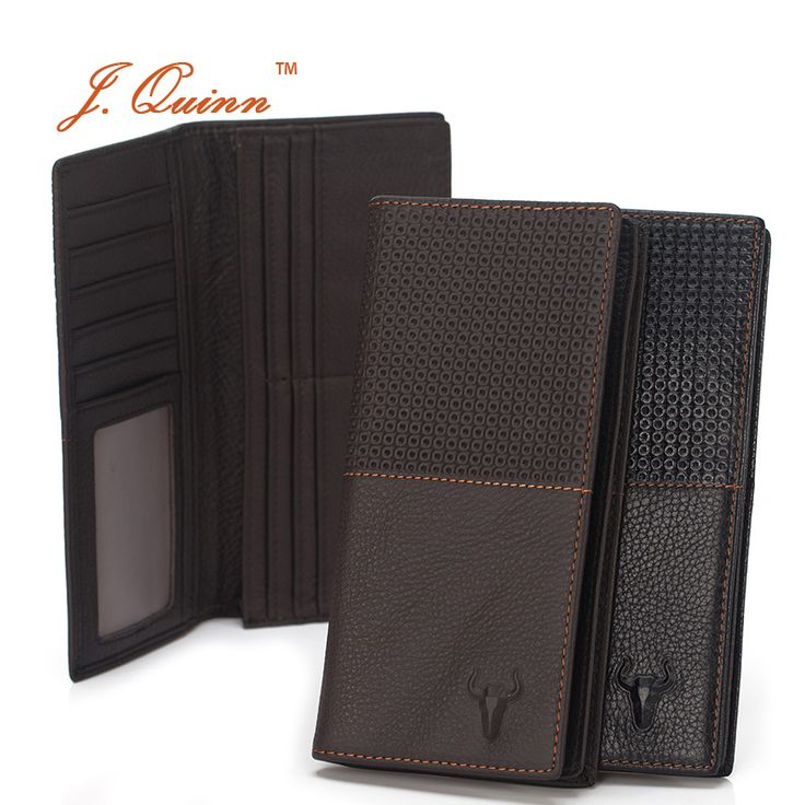 J.Quinn Bifold Men Wallet Plaid Cards Purse Male Leather Genuine Cow Zipper Pocket for Brand Men's Wallet Luxury Mens Portfolio