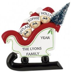Dashing through the Snow! Personalised Christmas Ornament - Family of 3 in a Sleigh. Option of Family Name or Christmas Greeting to be handpainted. WowWee.ie | €13.49