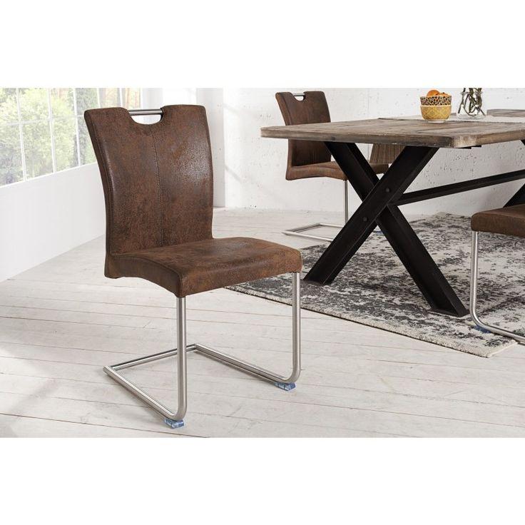 Moderne vrijdragende zweefstoel geryon vintage koffie - 36124