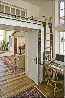 loft bed over the doorway - genius idea! make use of that wasted space. kids paradise play space.