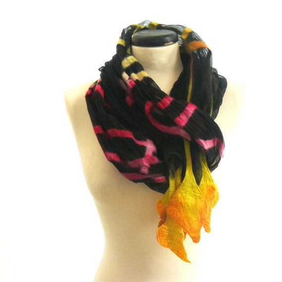 Nuno felted scarf silk and wool   black yellow pink by MajorLaura