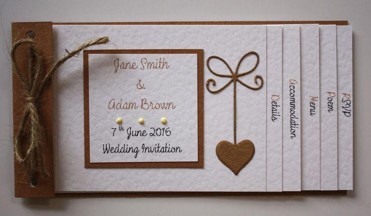 Vintage Shabby Chic RUSTIC ROMANCE cheque book Wedding Invitations : 60 colours | eBay