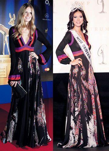 Supermodelo alemana Julia Stenger (izquierda)  - Miss Universe 2007 - Miss Japan Riyo Mori (derecha)