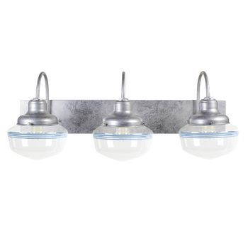 The Sophomore 3-Light Schoolhouse Vanity Light, 975-Galvanized with Triple Delphite Stripes | Small Glass |  Shown with Nostalgic Edison-Style 1910 Era 60 Watt Light Bulbs