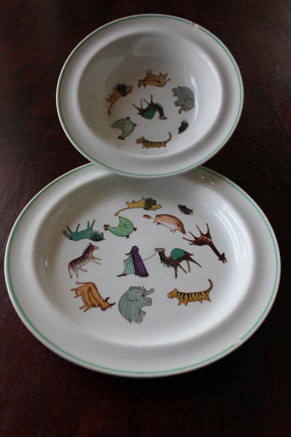 """An adorable vintage children's set of """"Zoo"""" dishes by Arabia Finland. Buying vintage, whether on etsy or at a thrift shop, helps the Earth, by reusing beautiful things that already exist. Also this is the kind of quality that's hard to find new today. (available through FinnishTreasures on etsy)"""