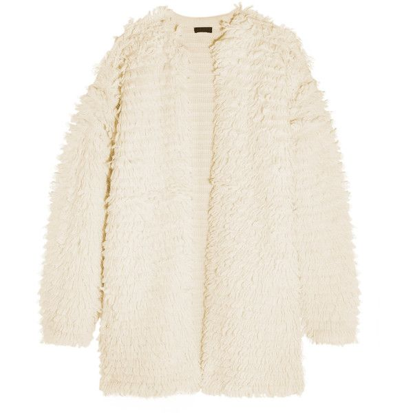 J.Crew Bouclé-knit coat ($360) ❤ liked on Polyvore featuring outerwear, coats, cream, j crew coats, knit coat, cocoon coat, j.crew coats and boucle coat