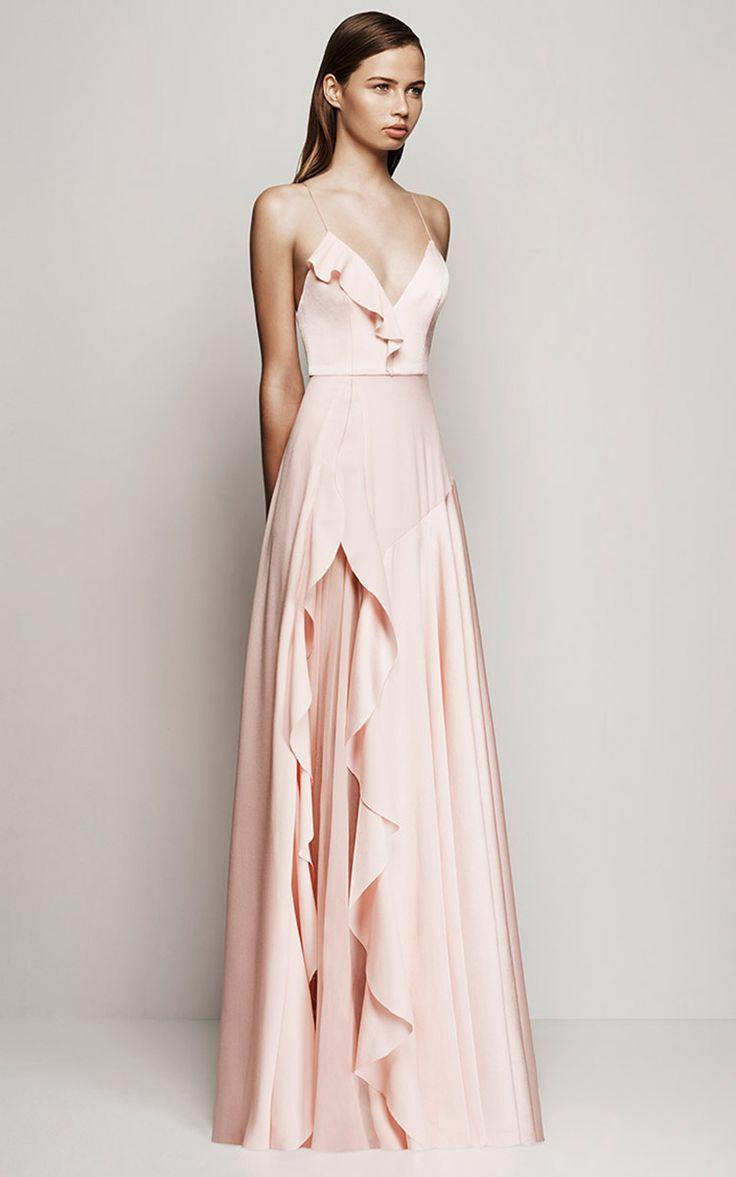 Rosa palido, asimetria, velo seda, vestidos de fiesta Alex Perry Resort 2016 - Preorder now on Moda Operandi