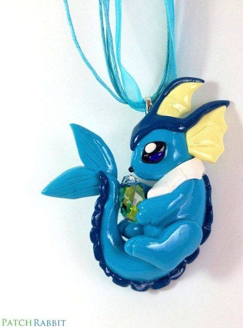 Vaporeon Necklace Swarovski Crystal Hand Crafted by Fuckinintents, $78.00