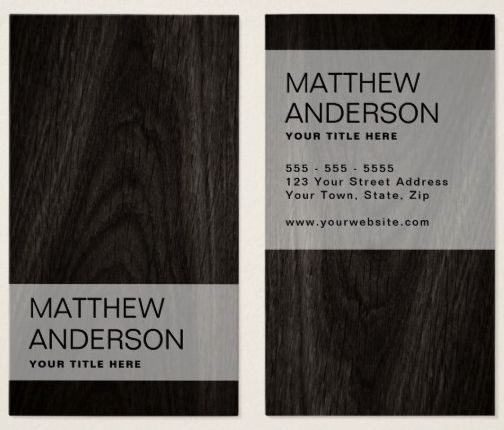 Modern, minimal elegant dark wood business card Contemporary business cards featuring an elegant dark wood background. Customizable name and contact information on the front and back. Vertical design.