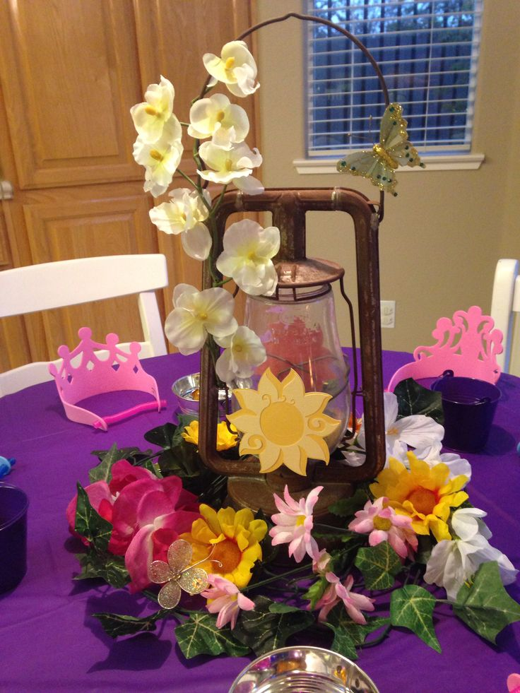 Centerpiece for crown decorating table miss k s rapunzel