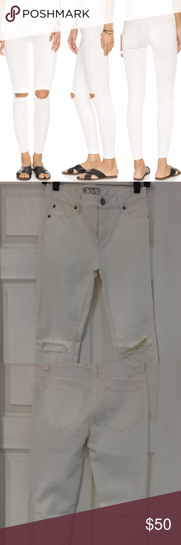 Free People white ripped jeans Free People white ripped jeans. size 26w.  Never been worn, notice stain in last picture- I bought them like that, dirt from the store. I'm sure one wash will do the trick. No flaws! Free People Pants Skinny