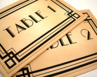 Table Numbers, Set of 10, Wedding, Vintage Style, Art Deco, Old Hollywood Glamour, Great Gatsby, 1920s, 1930s, 1940s, Matching Items