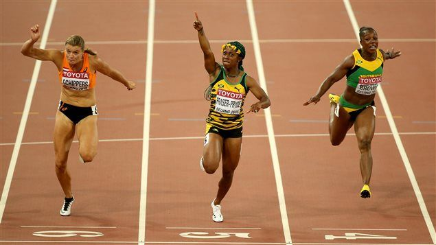 """Shelly-Ann Fraser-Pryce   Shelly-Ann Fraser-Pryce maintient sa domination au 100 m   ICI.Radio .."""" OS guld på 100 meter, 2008 och 2012."""