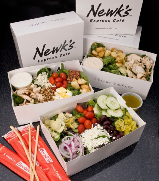 Salad Box Lunch contains a salad of your choice, breadsticks and a chocolate. Ideas and inspiration for Cafes, Delis and Sandwich Shops.