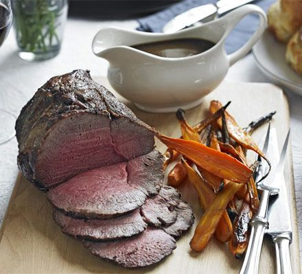 Roast beef & carrots with easy gravy -James Martin's succulent roast beef makes the ultimate Sunday lunch