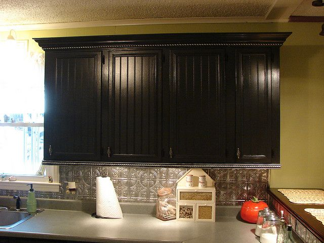 black beadboard kitchen cabinets   black cabinets   Flickr - Photo Sharing!
