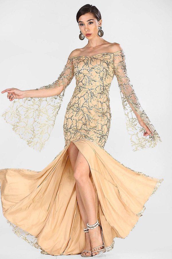 فستان سهرة بيج لامع برقبة بدون أكتاف Fashion Dresses Prom Dresses
