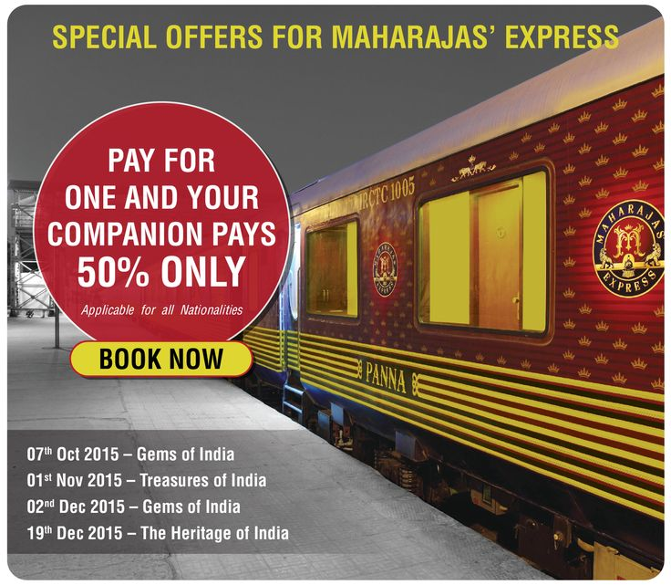 special discount on #maharajas'-express train & tour destination.