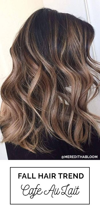 Cafe Au Lait! Perfect Fall Hair Color For Brunettes with Balayage with Soft Highlights | Cafe Au Lait Fall Hair Color Trend For Brunettes by Meredith Johnson, Abloom Salon with Oway Hcolor #Balayage #FallHairColor