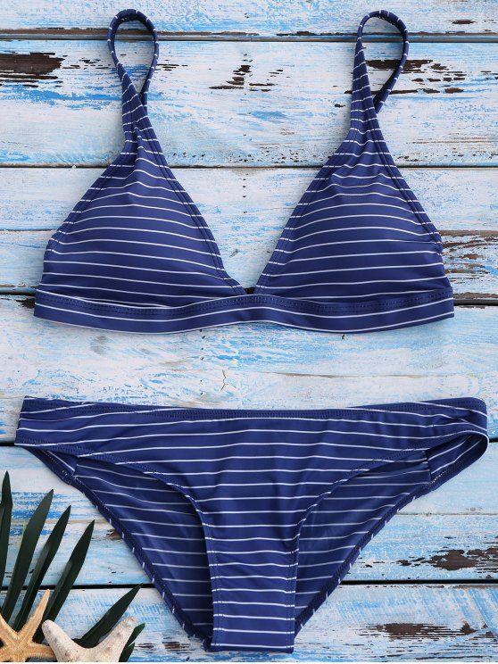 Banded Striped Bikini Set - BLUE XL