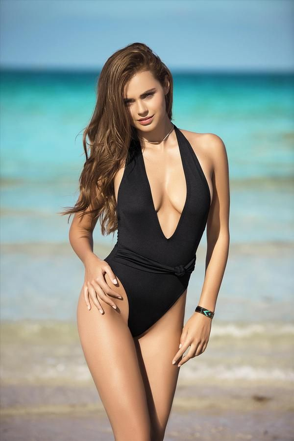 04535460f81af Black Deep Plunge V Neck High Cut Hip Leg Brazilian Cheeky One Piece  Swimsuit