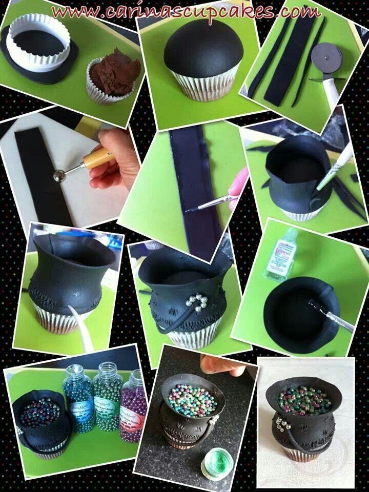 cauldron cupcake tutorial halloween cupcakescute halloweendessert ideascupcake - Cute Halloween Cupcake Decorating Ideas