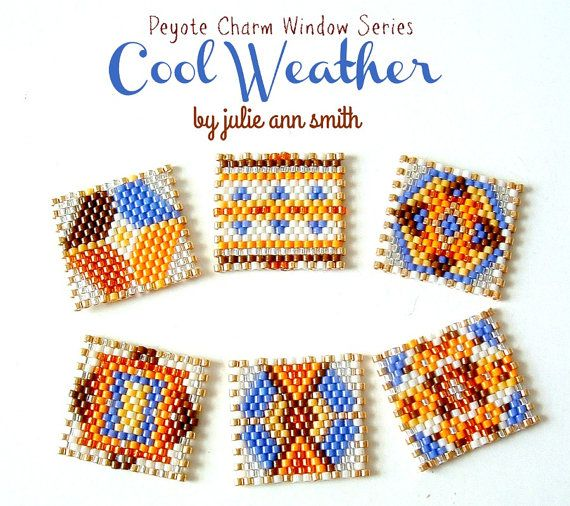 PEYOTE CHARM WINDOWS!!!! My COOL WEATHER SERIES!  What are CHARM WINDOWS? They are the cutest little 1 inch by 1 inch squares, made using size 11/0 Delica beads and size 15/0 seed beads (optional). Within this pattern, you will receive 6 different CHARM WINDOWS designs. These are stitched using odd count peyote.  In this pattern you will receive a full color photo of the completed CHARM WINDOWS; a DELICA suggested color palette; a full color graph and a WORD pattern for each CHARM WINDOW…