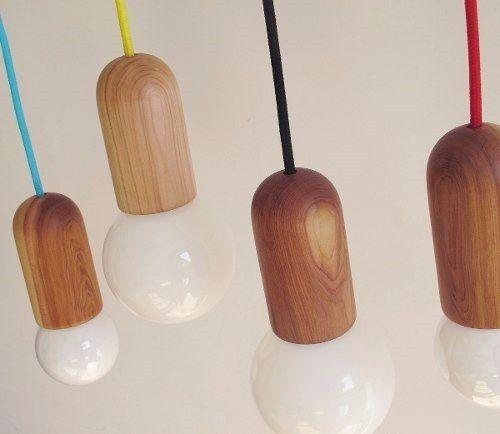 lámpara colgante de madera con cable color - diseño