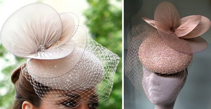 Jane Taylor hat:  Nude beaded cocktail hat with silk tulle and organza discs. Finished with smoked quarts and veiling. As worn by the Duchess of Cambridge, Kate Middleton at St Paul's Jubilee service. This piece can be made in ivory, black, scarlet, dove grey, nude, navy or dyed to order.