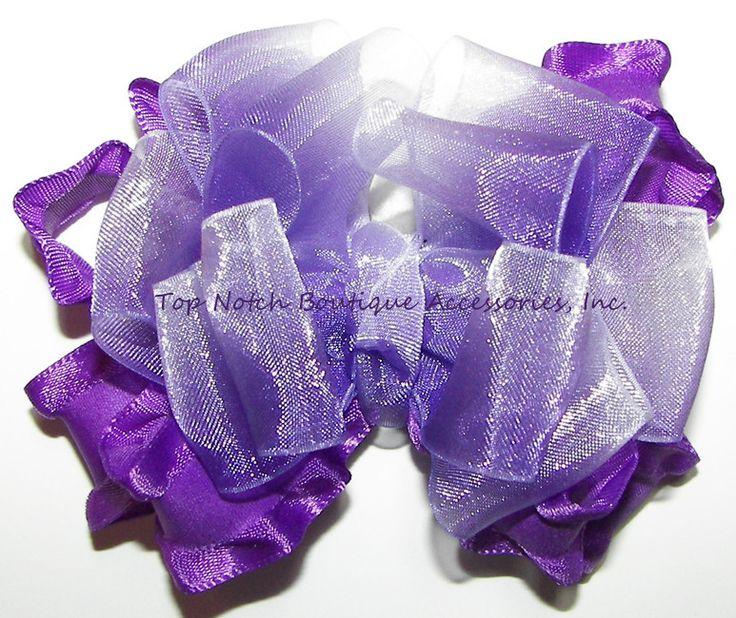 Frilly Purple Ombre Organza Ruffle Hair Bow #Purple #Hair #Bow