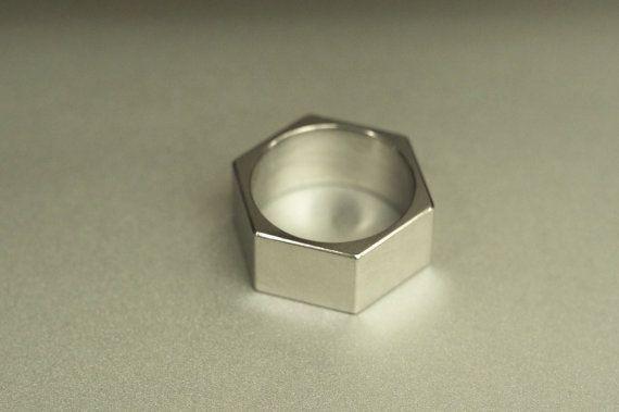 Titanium Minimalist Hex Nut Ring  |WILDHORN| jewelry by MayakDesign