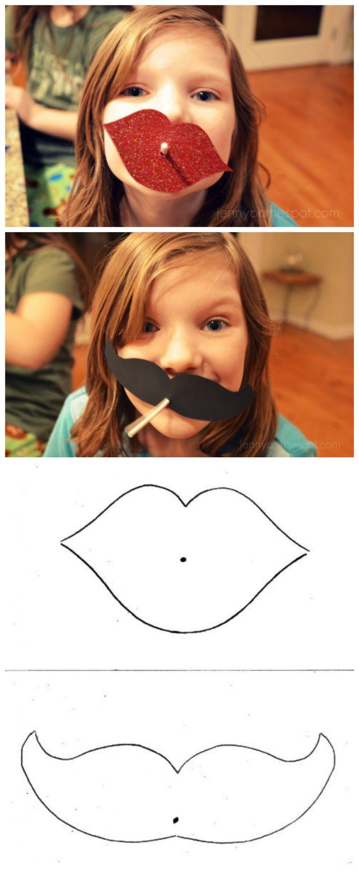 DIY lollipop Valentine lips & moustache!!! via @Jenny On The Spot