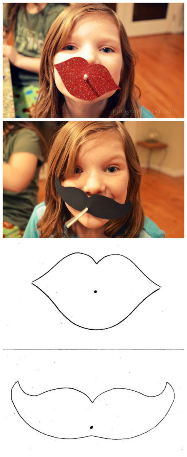 DIY lollipop Valentine lips & moustache!!! via @Jenny On The Spot