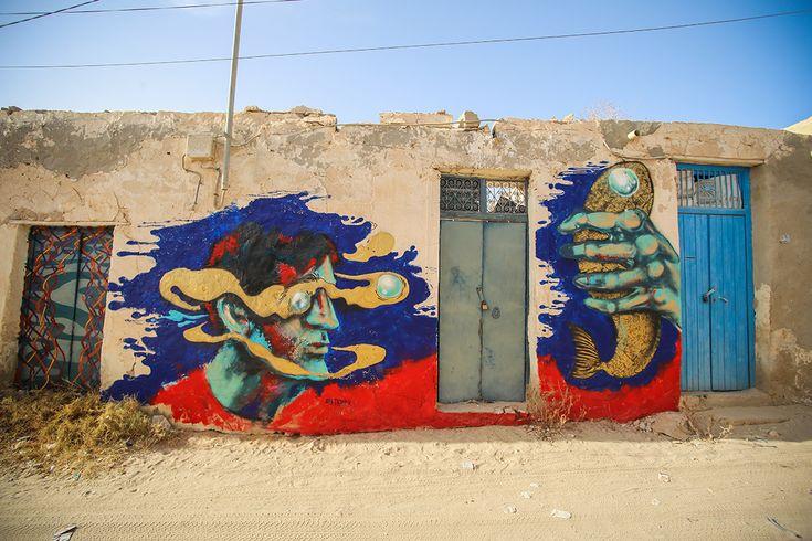 Aya Tarek (Egypt) #streetart #erriadh #djerba #tunisia #surrealism #spray #acrylic