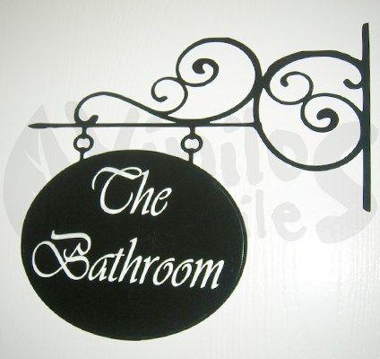 """Vinil decorativo de Letrero con herrería de """"The Bathroom"""" para baño 1"""