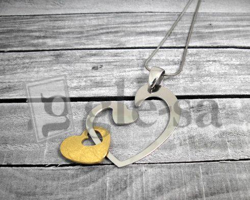 #collana coda di topo #argento 925 con ciondolo a cuore acciaio e oro http://www.glesa.it/vetrine/linea_cuore_925