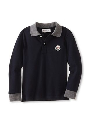 37% OFF Moncler Kid's Long Sleeve Polo (Blue Marine)
