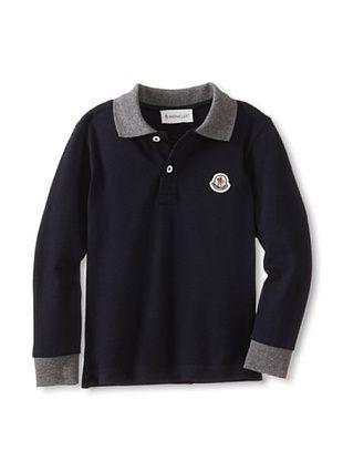 37% OFF Moncler Kid's Long Sleeve Polo (Blue Marine)