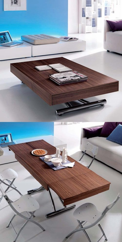 our passo is a transforming coffee table with glass or wood top and
