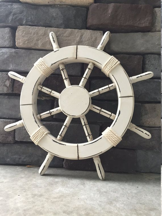 18 Rustic White Nautical Ship Wheel Decorative by ParadiseDecor