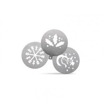 Sabloane cafea metalice cu modele de Craciun. #Sablon de #metal pentru ornarea cestilor de #cafea sau #ciocolata calda, cu 3 piese cu modele de #Craciun: #frunza, #fulg de #zapada si om de zapada.