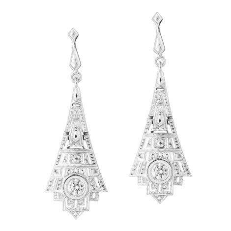 Jan Logan 18ct diamond Empire earrings