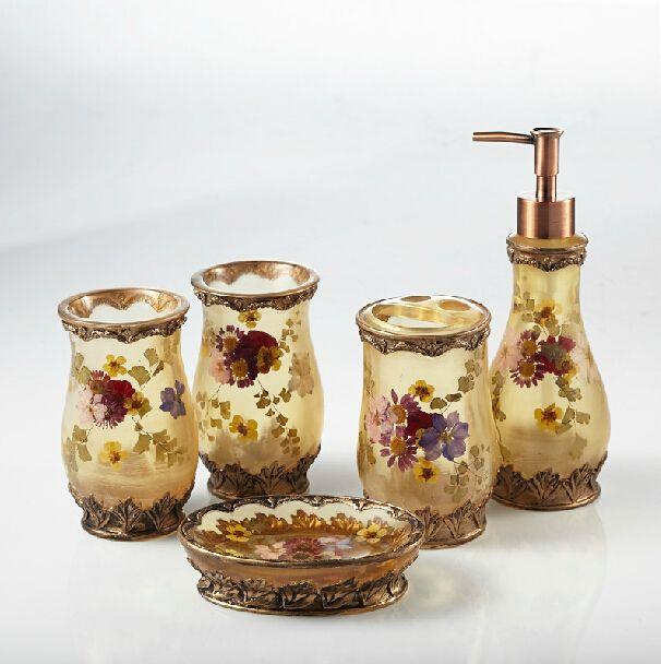 5 шт. цветут цветы смолы комплект для ванной комнаты, Стакан, Зубных щеток, Мыльница, Бутылка лосьона, Свадебный подарок