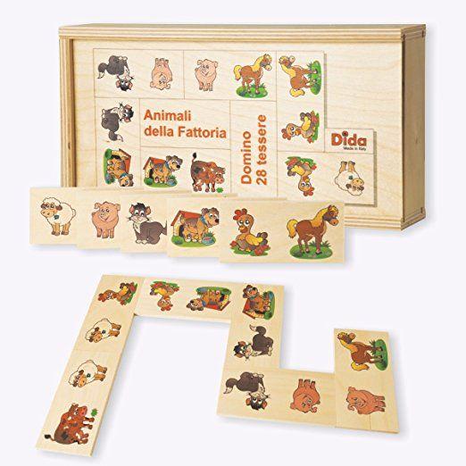 Dida - Domino Animali della Fattoria. Mucca, gatti, cani, gallina, pecora e maialini illustrati nel domino gioco da tavolo con tessere e scatola di legno per bambini.