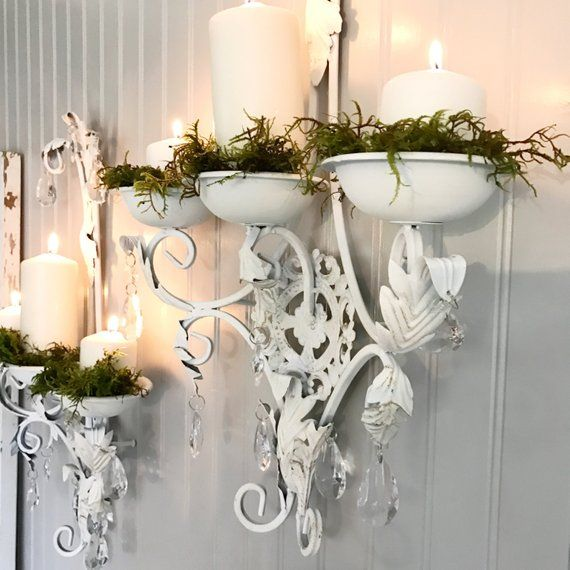 Wall Candle Holder Crystal Sconces Shabby Chic Set Of Two