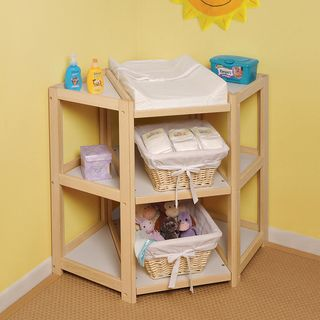 @Overstock.com - The Diaper Corner Natural Changing Table - A different take on nursery furniture, this innovative diaper changing table fits into a corner and takes up less space. The natural wood table offers tons of space to store baby supplies. Upcycle it into toy storage once baby is potty trained. http://www.overstock.com/Baby/The-Diaper-Corner-Natural-Changing-Table/4104020/product.html?CID=214117 $112.88